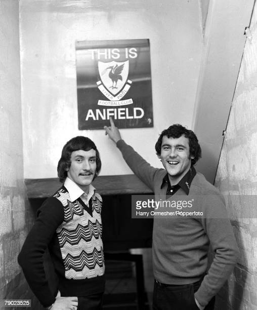 Sport Football Liverpool England November 1974 Liverpool FC's Terry McDermott and Ray Kennedy are pictured next to the This is Anfield sign