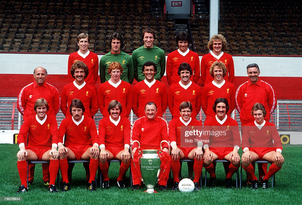Sport. Football. Liverpool FC Team-Group 1978-79 Season. The Liverpool team pose together for a group photograph with the European Cup trophy. Back Row L-R: Joey Jones, Ray Clemence, Steve Ogrizovic, Alan Hansen, and Phil Thompson. Middle Row L-R: Ronnie  : News Photo