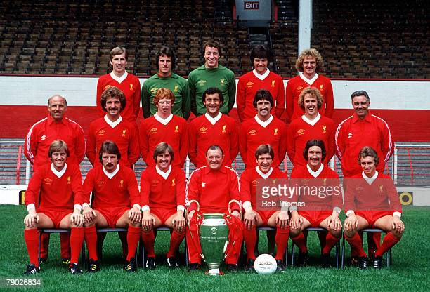Sport Football Liverpool FC TeamGroup 197879 Season The Liverpool team pose together for a group photograph with the European Cup trophy Back Row LR...
