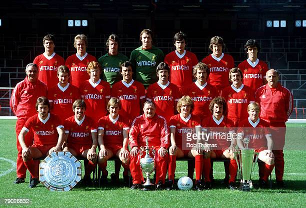 Sport Football Liverpool FC TeamGroup 197980 Season The Liverpool team pose together for a group photograph with the Charity Shield League...