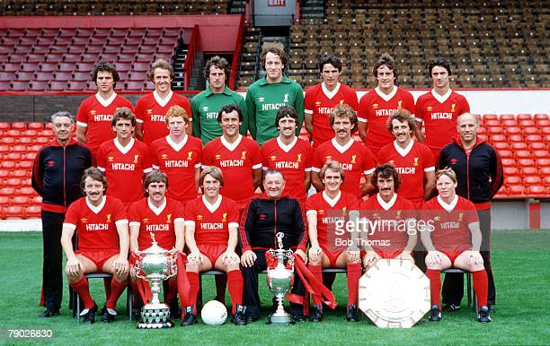Sport Football Liverpool FC TeamGroup 198081 Season The Liverpool team pose together for a group photograph with the League Championship and Charity...