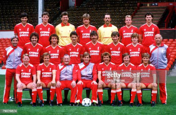 Sport Football Liverpool FC TeamGroup 198586 Season The Liverpool team pose together for a group photograph Back Row LR Alan Hansen Gary Gillespie...
