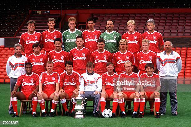 Sport Football Liverpool FC TeamGroup 198990 Season The Liverpool team pose together for a group photograph with the FA Cup Back Row LR Jan Molby...