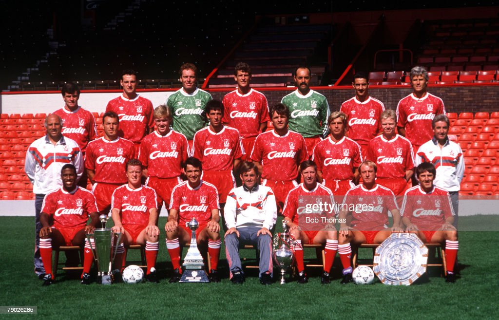Sport. Football. Liverpool FC Team-Group 1990-91 Season. The Liverpool team pose together for a group photograph with the Manager of the Year award, two League Championship trophies, and Charity Shield. Back Row L-R: Ray Houghton, Alex Watson, Mike Hooper : News Photo