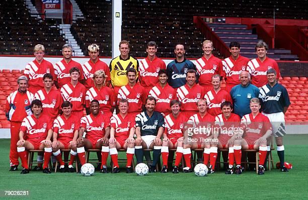 Sport Football Liverpool FC TeamGroup 199192 Season The Liverpool team pose together for a group photograph Back Row LR Steve Staunton Glenn Hysen...