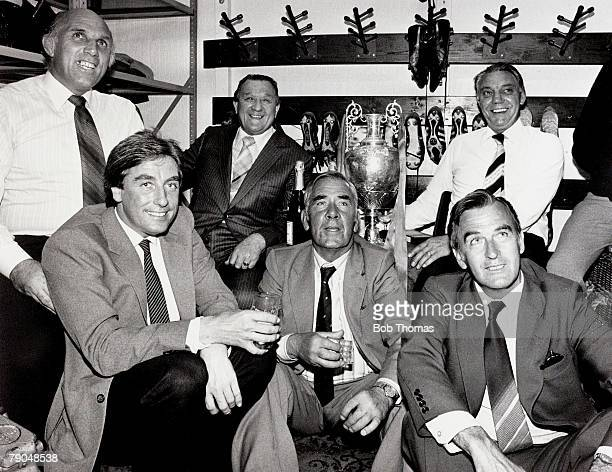 Sport Football Liverpool v Spurs May 1982 Liverpool won the League A picture of Liverpool's coaching staff enjoying a celebratory drink in the famous...