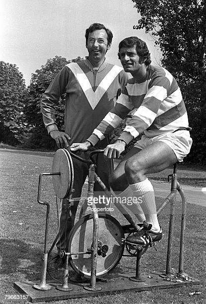 Sport Football London England 10th August 1973 Queens Park Rangers manager Gordon Jago puts new signing Frank McLintock through his paces on an...