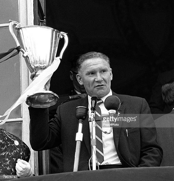 Sport Football London England 19th May 1963 Tottenham Hotspur Manager Bill Nicholson shows the European CupWinners Cup to Spurs fans from the balcony...