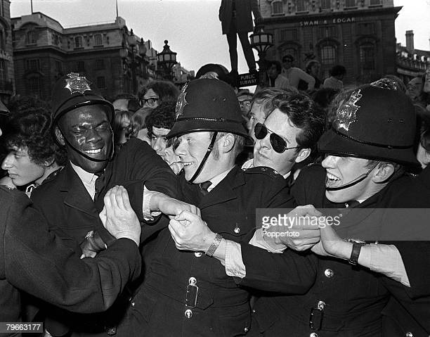 """Sport, Football, London, England, 20th May 1970, Police struggle to hold back the crowd at the London premiere of The Beatles film """"Let It Be"""""""