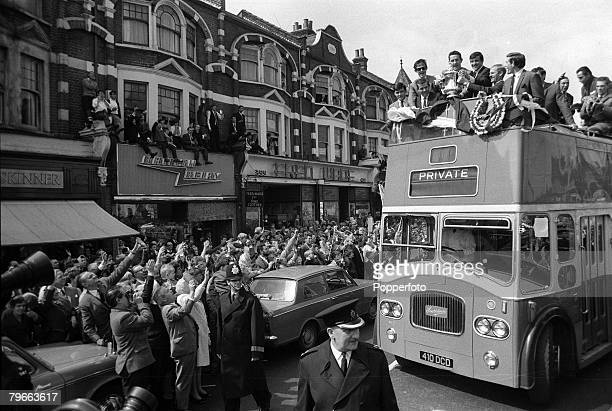 Sport Football London England 21st May 1967 Tottenham Hotspur players display the FA Cup trophy to jubilant fans from an open top bus en route to a...