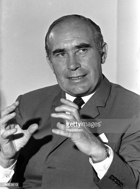 Sport Football London England 25th June 1970 England manager Sir Alf Ramsey at a post Mexico World Cup press conference