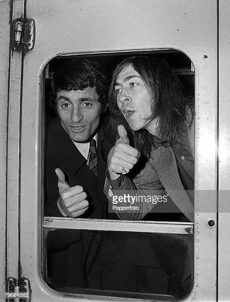 Sport Football London England 26th April 1971 Arsenal captain Frank McLintock and teammate Charlie George leave London's Kings Cross train station...
