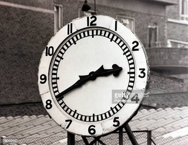 Sport Football London England 26th October 1968 The famous Arsenal clock at Highbury with 20 minutes to go before kickoff