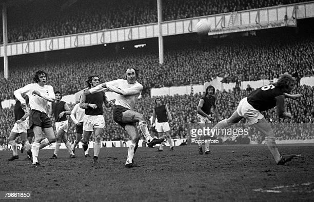 Sport Football London England 27th December 1971 League Division One Tottenham Hotspur v West Ham United Tottenham's Alan Gilzean shoots past West...