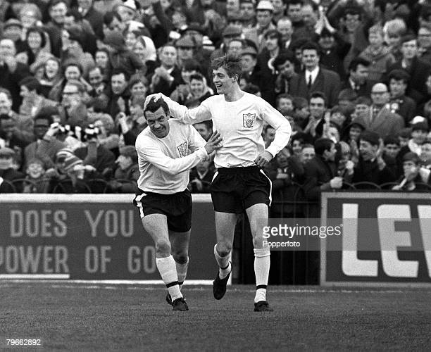 Sport Football London England 27th March 1967 League Division One Fulham 2 v Manchester United 2 Fulham's Allan Clarke is congratulated by his...