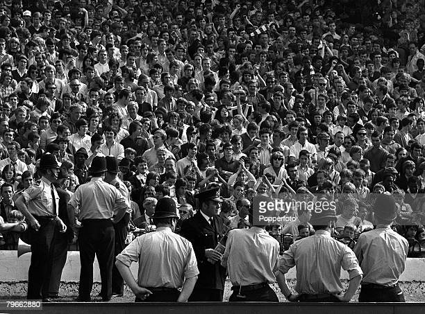 Sport Football London England 29th August 1970 League Division One Chelsea v Arsenal Police keep watch on potential troublemakers in part of the...