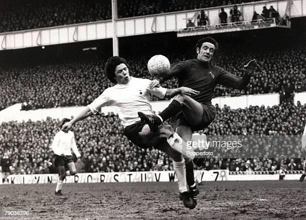 Sport Football London England 29th January 1972 League Division One Tottenham Hotspur v Leeds United at White Hart Lane Tottenham Hotspur's Steve...