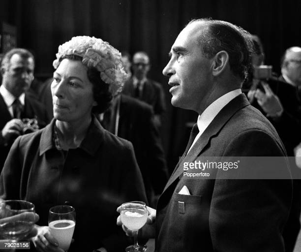 Sport Football London England 31st July 1966 England Manager Alf Ramsey is pictured with his wife Vicky at a lunch reception the day after England...