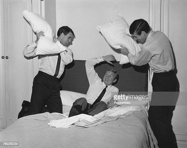 Sport Football London England 31st July 1966 'The Morning after the Day before' England's triumphant West Ham trio Martin Peters and Geoff Hurst...