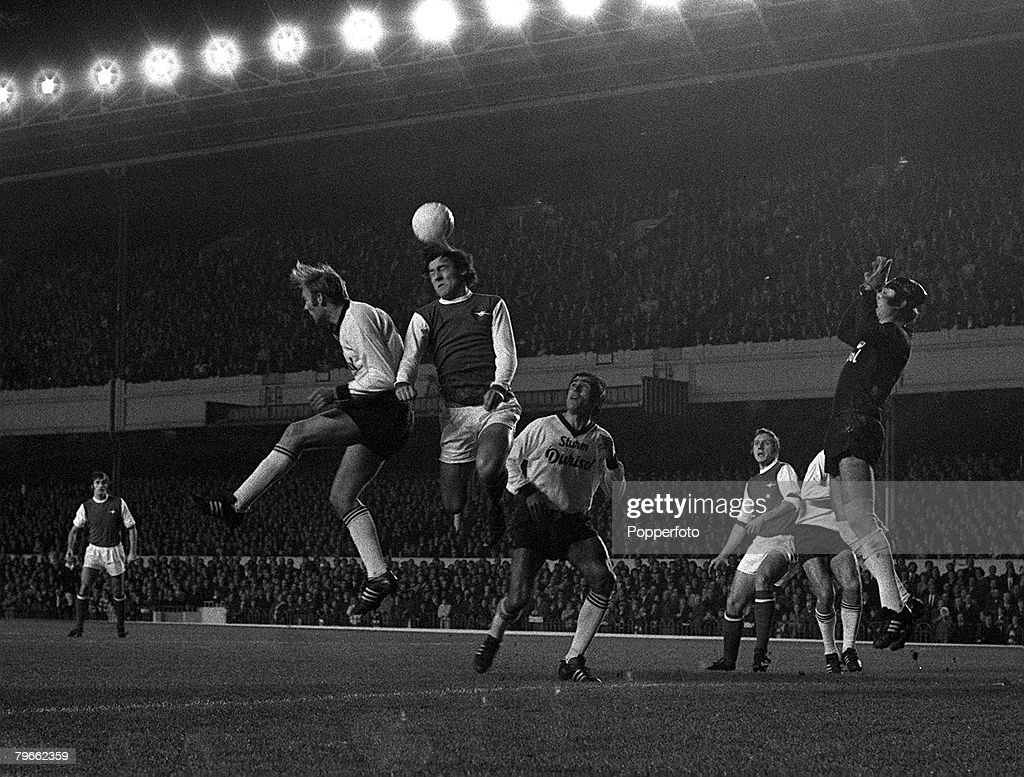 Sport, Football, London, England, 4th November 1970, European Inter-Cities Fairs Cup, Second Round, Second Leg, Arsenal 2 v Sturm Graz 0 (Arsenal win 2-1 on aggregate), Arsenal's Ray Kennedy leaps to head during the match : News Photo