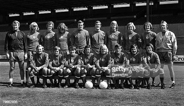 Sport Football London England 8th August 1973 The Crystal Palace first team squad for season 1973/4 pose together for a group photograph Back Row LR...