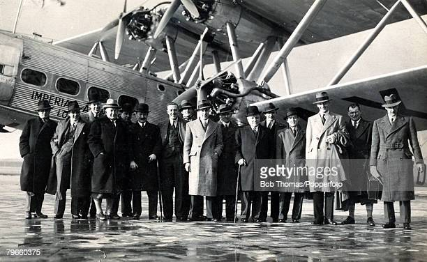 Sport Football London England Circa 1930 The Arsenal team with their Manager Herbert Chapman are pictured boarding an Imperial Airways flight at...