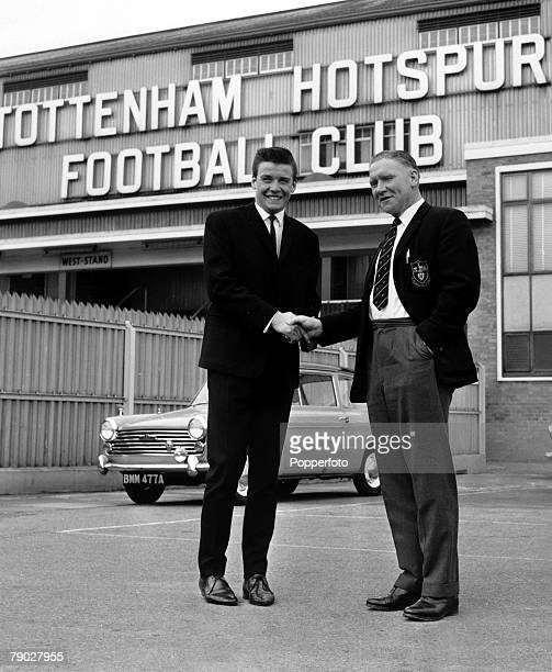 Sport Football London England circa 1964 Tottenham Hotspur Manager Bill Nicholson welcomes new signing Cyril Knowles to White Hart Lane