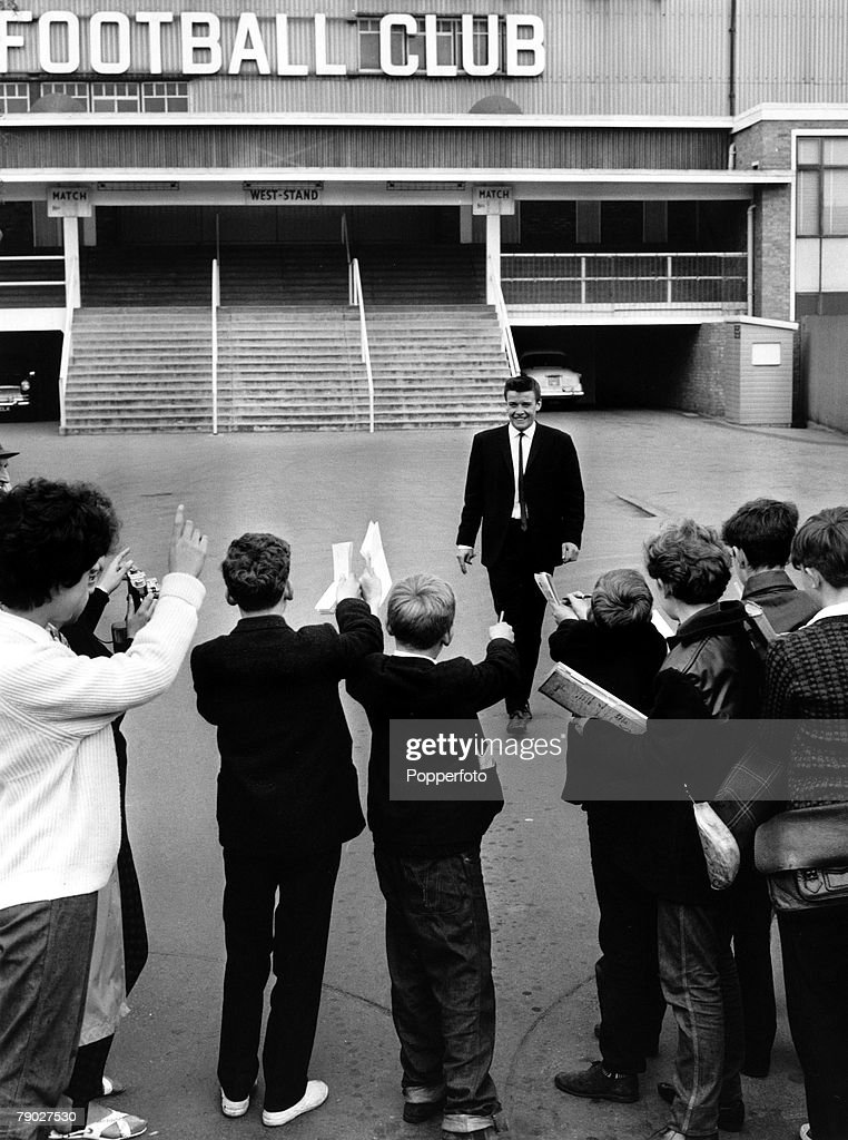 Sport. Football. London, England. circa 1964. Tottenham Hotspur+s new signing Cyril Knowles about to meet fans at White Hart Lane. : News Photo