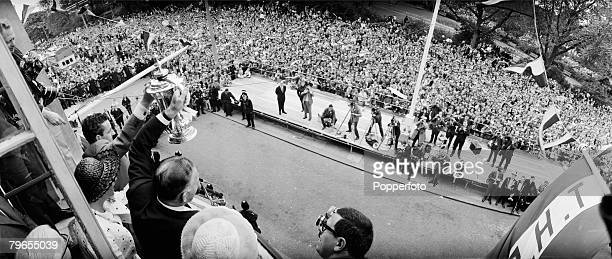 Sport Football London England FA Cup Final 21st May 1967 Tottenham Hotspur Manager Bill Nicholson right and Dave Mackay show the FA Cup to the large...