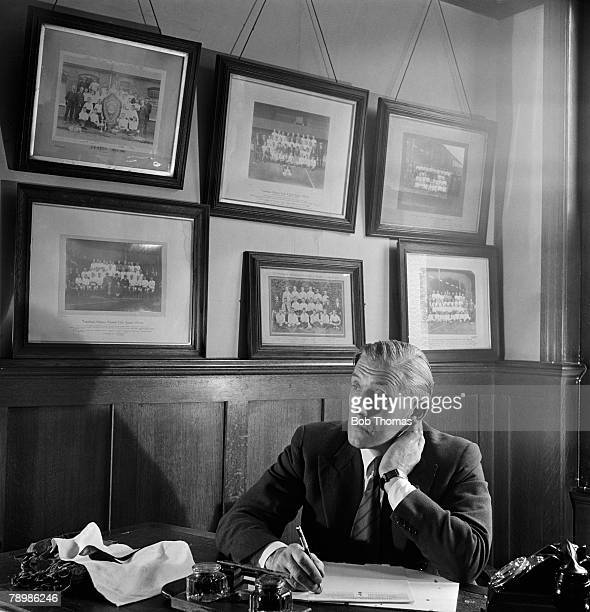 Sport Football London England Tottenham Hotspur Manager Arthur Rowe pictured at his desk at White Hart Lane