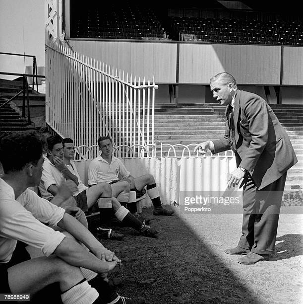 Sport Football London England Tottenham Hotspur Manager Arthur Rowe talking with a group of players at White Hart Lane