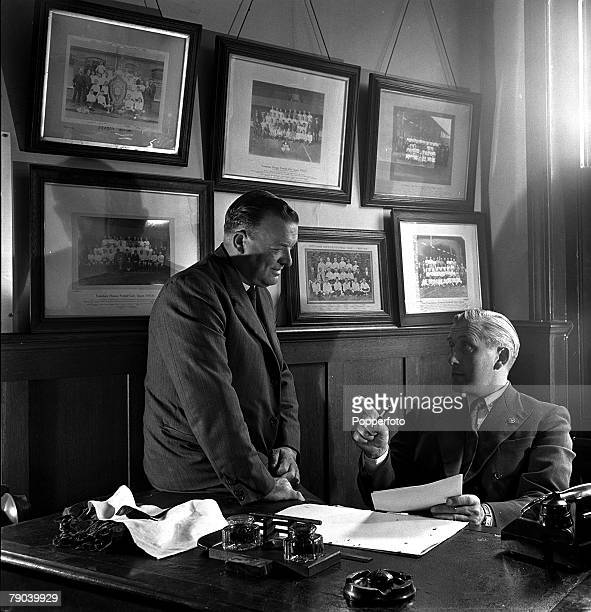 Sport Football London England Tottenham Hotspur Manager Arthur Rowe at his desk at a midmorning conference with his Assistant team manager Jimmy...