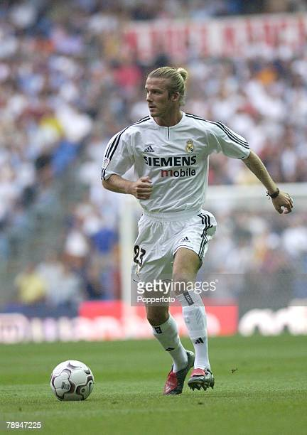 Sport Football Madrid Spain 13th September 2003 Spanish League Division 1 Real Madrid 7 v Valladolid 2 David Beckham Real Madrid
