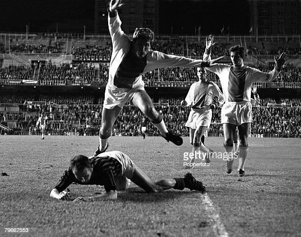 Sport Football Madrid Spain 29th May 1969 European Cup Final AC Milan 4 v Ajax 1 AC Milan's Kurt Hamrin is knocked to the ground by Ajax's Frank Van...