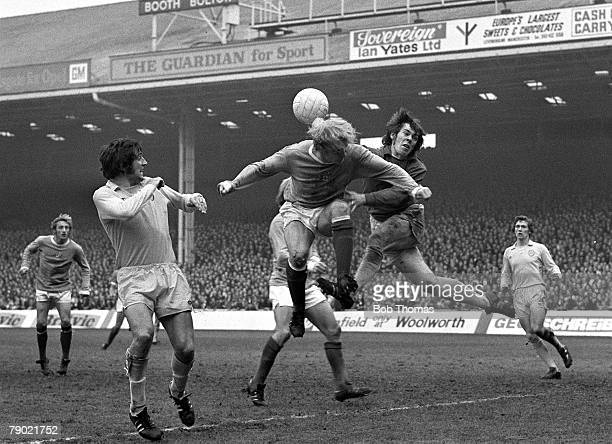 Sport Football Maine Road England 27th October 1973 Manchester City 0 v Leeds United 1 Leeds goalkeeper David Harvey punches clear under pressure...