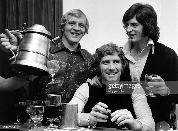 Sport, Football, Manchester, England, 24th January 1972, Manchester City+s Francis Lee with Evertons+ Alan Ball and Manchester United+s Willie Morgan...