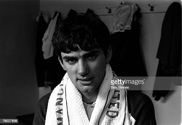 Sport Football Manchester England Circa 1964 Manchester United player George Best takes a break in training in the dressing room at the 'Cliff'
