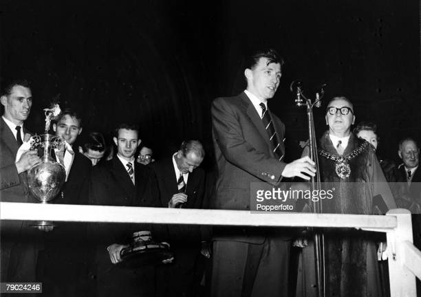 Sport Football Manchester England Manchester United captain Roger Byrne is pictured speaking at the civic reception given in honour of the First...