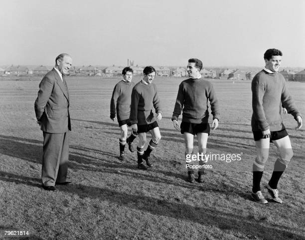 Sport Football Manchester England Manchester United manager Matt Busby with some of his players as they attend a training session players include...