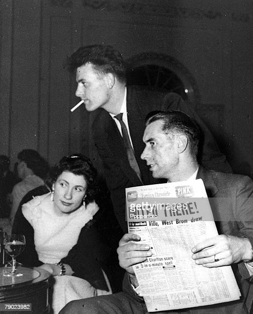 Sport Football Manchester England Ray Wood and Albert Scanlon are pictured at the celebration dinner for the League Championship winning Manchester...