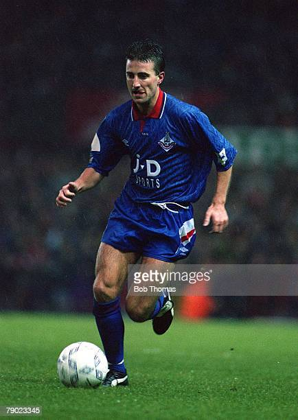 Sport Football Manchester England The Premier League 21st November 1992 Manchester United 3 v Oldham Athletic 0 Oldham's Neil Adams on the ball