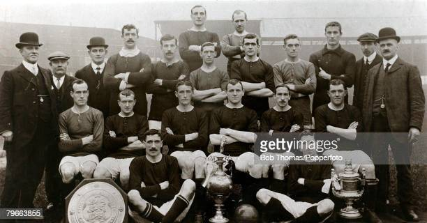 Sport Football Manchester United 19081909 League Champions 19071908 Back row LR ADownie HBurgess Standing JTaylor Director JNuttall Ass trainer...