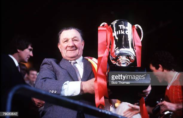Sport, Football, Milk Cup Final, Wembley, London, England, 26th March 1983, Liverpool 2 v Manchester United 1, Liverpool Manager Bob Paisley is...