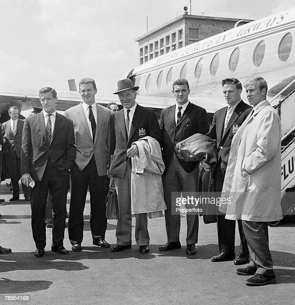 Sport Football Munich Germany 7th August 1959 Some of the Manchester United team pictured at the airport some 18 months after the fateful crash Left...
