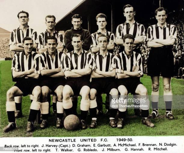Sport Football Newcastle United 19491950 Back row lr JHarvey DGraham EGarbutt AMcMichael FBrennan NDodgin Front row lr TWalker George Robledo Jackie...