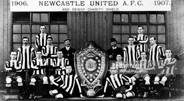 Sport Football Newcastle United FC Team Group with the Dewar Charity Shield 1906 P McWilliam and C Veitch A McCombie W McCracken JQ McPhersonTrainer...