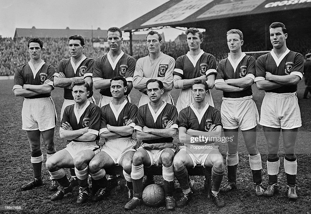 Sport. Football. Ninian Park, Cardiff. 5th February 1958 World Cup Qualifying match. Wales 2 v Israel 0. Wales team group, including; John Kelsey, Stuart Williams, Alan Harrington, Mel Charles, Mel Hopkins, Ron Hewitt, David Bowen, Ivor Allchurch, Terry M : News Photo