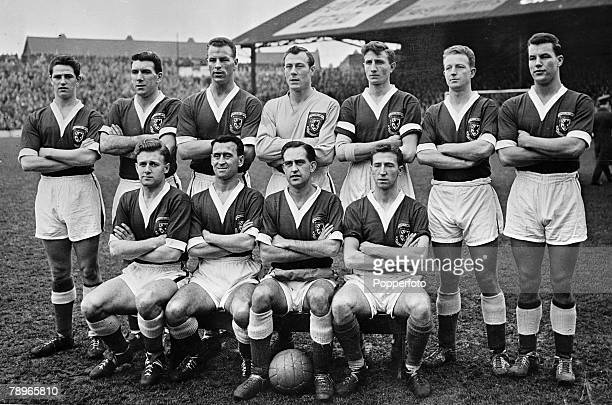 Sport Football Ninian Park Cardiff 5th February 1958 World Cup Qualifying match Wales 2 v Israel 0 Wales team group including Jack Kelsey Stuart...