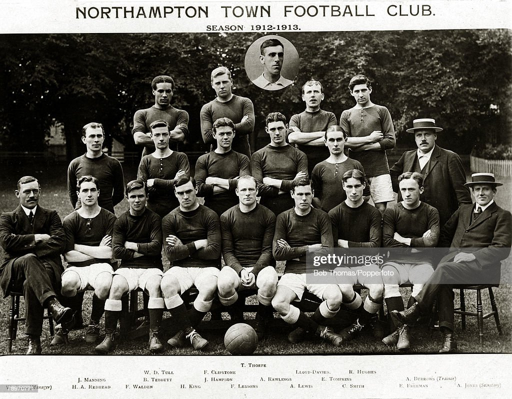Sport. Football. Northampton Town, 1912-1913. Inset T.Thorpe. Back row, l-r, Walter Tull, F.Clipstone, Lloyd-Davies, R.Hughes. 2nd row, l-r, J.Manning, B.Tebbutt, J.Hampson, A.Rawlings, E.Tompkins, A.Burrows (Trainer). Front row, l-r, W.Bull (Manager), H. : News Photo