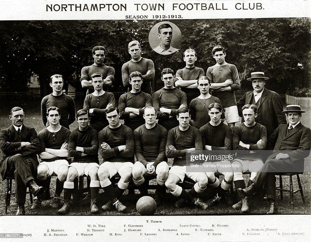 Sport, Football, Northampton Town, 1912-1913, Inset T,Thorpe, Back row, l-r, Walter Tull, F,Clipstone, Lloyd-Davies, R,Hughes, 2nd row, l-r, J,Manning, B,Tebbutt, J,Hampson, A,Rawlings, E,Tompkins, A,Burrows (Trainer), Front row, l-r, W,Bull (Manager), H,A,Redhead, F,Walden, H,King, F,Lessons, A,Lewis, C,Smith, E,Freeman, A,Jones